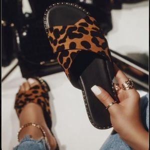 Leopard Print X Band Studded Slide Flat Sandals
